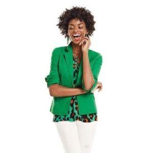 CAbi M Green Verde Jacket Cotton Stretch Blazer